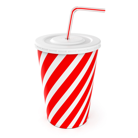Soft drink in takeaway cup with drinking straw isolated on white background, 3D rendering