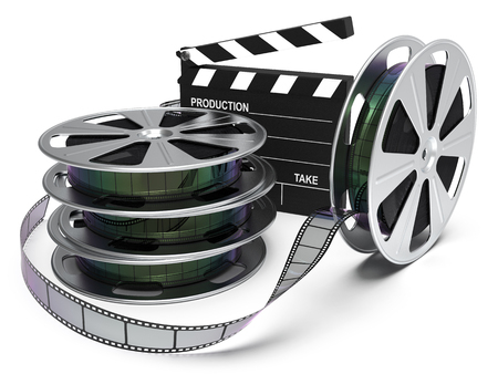 Film reel and cinema clap isolated on white background 3D rendering