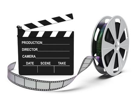 Filmrol en bioscoopklap geïsoleerd op een witte achtergrond 3D-rendering Stockfoto