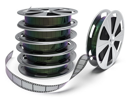 Film reel isolated on white background 3D rendering
