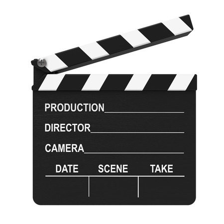 Cinema clap isolated on white background 3D rendering Stock Photo