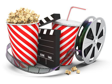 Popcorn with drink, film reel and cinema clap isolated on white background, 3D rendering