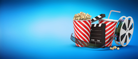 Popcorn with drink, film reel and cinema clap on blue background with copy space, 3D rendering Stock Photo