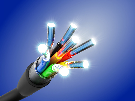 Optic fiber cable connection, 3D rendering