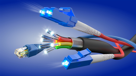 Network cable and optic fibre cable connection, 3D rendering