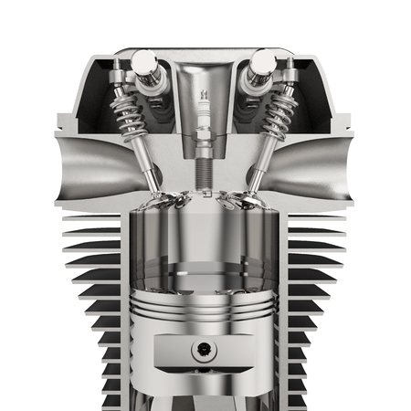 Engine with pistons, cylinder and spark plug, isolated on white background 3D rendering