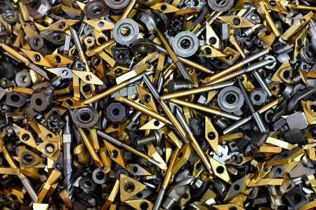 Metal recycling, old milling and drilling tools