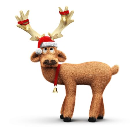 Funny reindeer with Santa Claus hat and decoration on the antler isolated on white background 3D rendering
