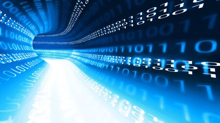 Blue binary data tunnel, wireless high speed internet connection