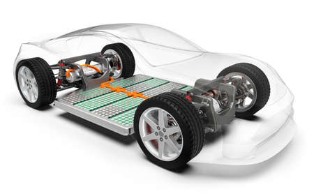 Modern electric car with battery, x-ray vehicle chassis, 3D rendering Stock Photo