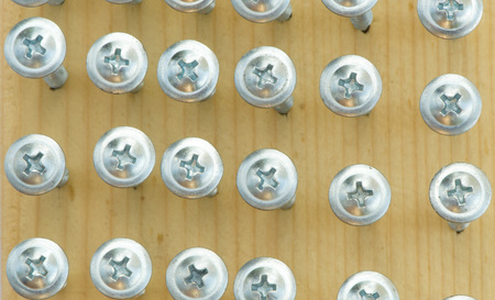 screwed: Self-tapping screws are screwed into the tree Stock Photo