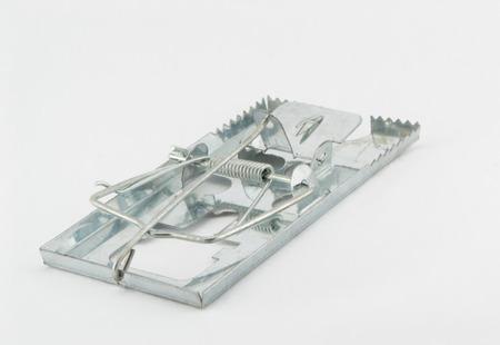 exterminate: Mousetrap on white background Stock Photo