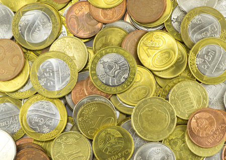 kopek: Many Belarusian coins closeup Stock Photo