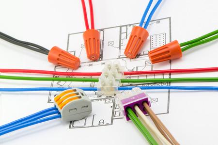 Arrangement of wiring connectors circular Stock Photo