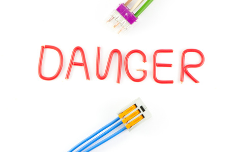 Electrical safety warning on a white background