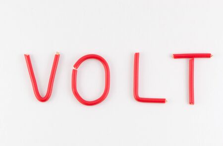 volts: Word volts wires Stock Photo