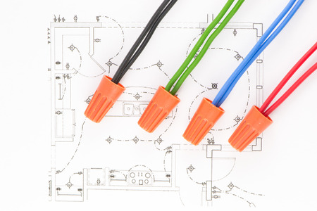 Colored wires on the circuit of the wiring