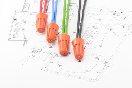four soedinitelya wire nuts lie on the wiring diagram stock photo rh 123rf com Light Switch Wiring Diagram 3-Way Switch Wiring Diagram