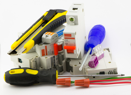 switchgear: Electrical accessories for electrical work Stock Photo