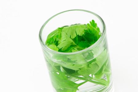 vodka: Vodka with fresh herbs Stock Photo