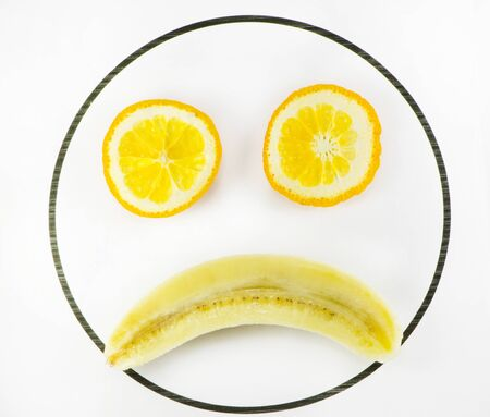 offended: Fruit in the form of a sad face