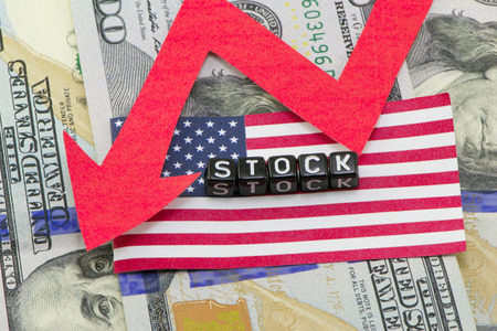 stagnation: Shares fall concept and composition Stock Photo