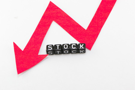stock price: Stock price falls concept on a white background Stock Photo