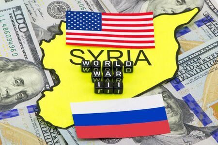 The Third World War between the US and Russia over Syria Stock Photo