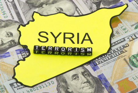 Terrorism in Syria concept background