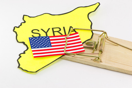 bloodshed: Syrian trap for the USA on a white background Stock Photo