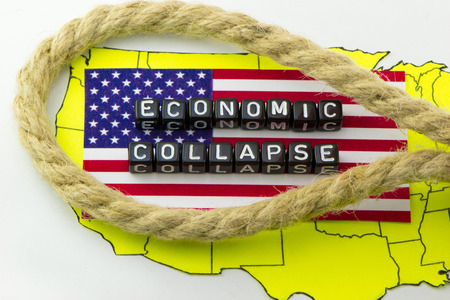 The collapse of the US economy in the loop of debt Banco de Imagens - 65648969
