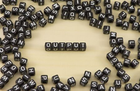 The concept of the word output Stock Photo