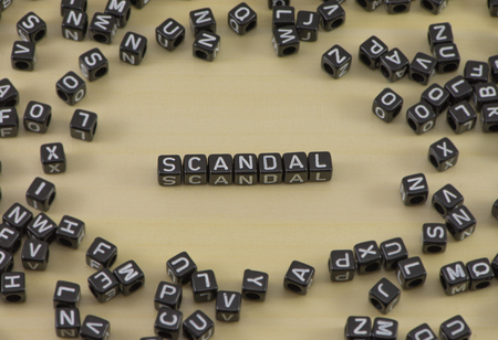 The concept of the word scandal Stock Photo
