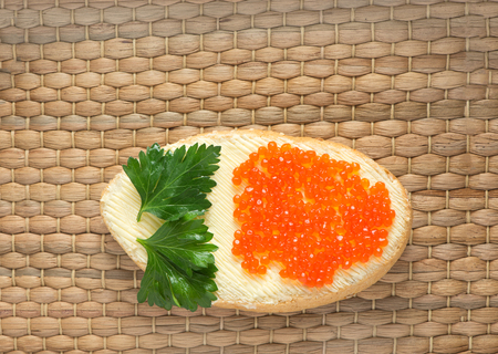 Appetizing caviar on a table for a menu
