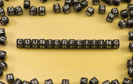 The word counterfeiting on wood background