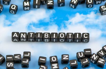 The word Antibiotic on the sky background