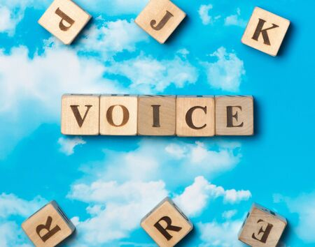 The word voice on the sky background