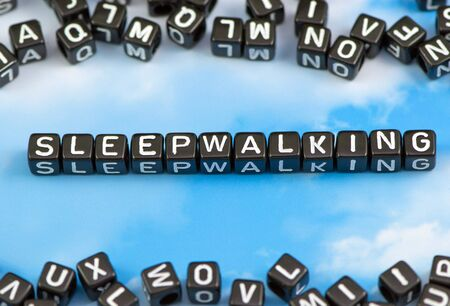 sick bed: The word sleepwalking on the sky background