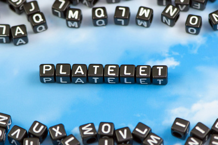 platelets: The word platelets on the sky background