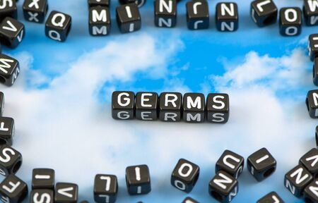 The word germs on the sky background