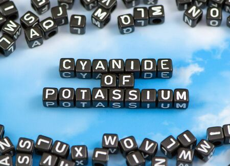 potassium: The word cyanide of potassium on the sky background