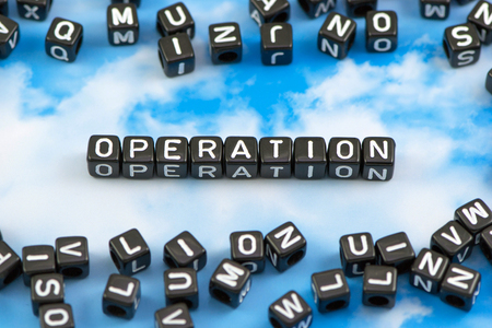 operation: The word Operation on the sky background Stock Photo