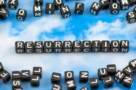 medical doctors: The word resurrection on the sky background