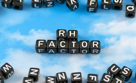 rh: The word Rh factor on the sky background