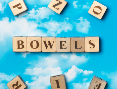 bowels: The word bowels on the sky background