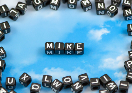 The word mike on the sky background