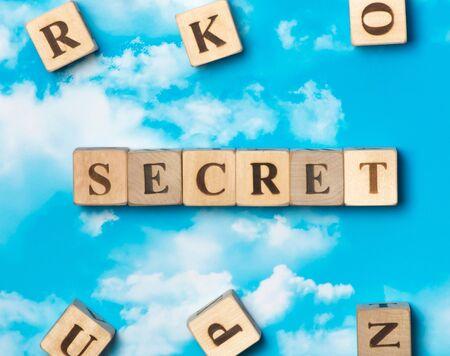 secret word: The word Secret on the sky background