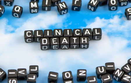 fibrillation: The word clinical death on the sky background