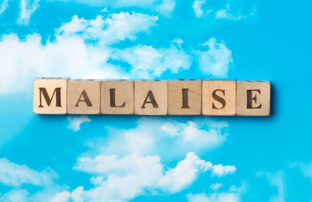 The word Malaise on the sky background Stock Photo