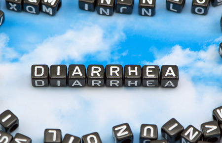 diarrhoea: The word Diarrhea on the sky background Stock Photo